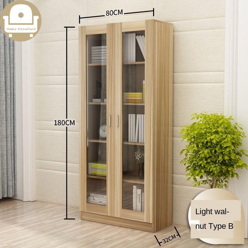 Bookshelf Modern Shelf Living Room Cabinet Glass Door Locker Simple Bookcase Free Combination Shopee Singapore