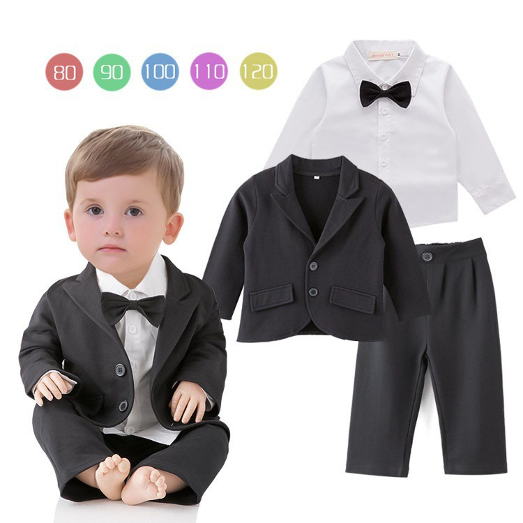 f6b4b10465f3 5 Pcs Toddler   Boys Formal Children White Long Tail Tuxedo Wedding ...