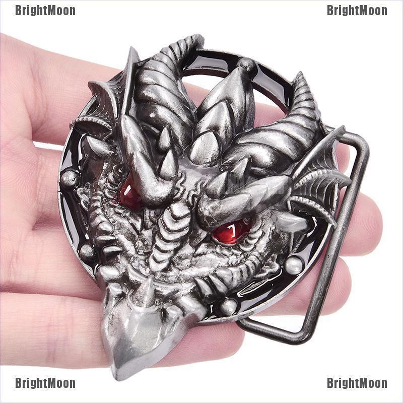 Men/'s belt buckle 7.3cm dragon head black pattern bronze metal pin buckles SG