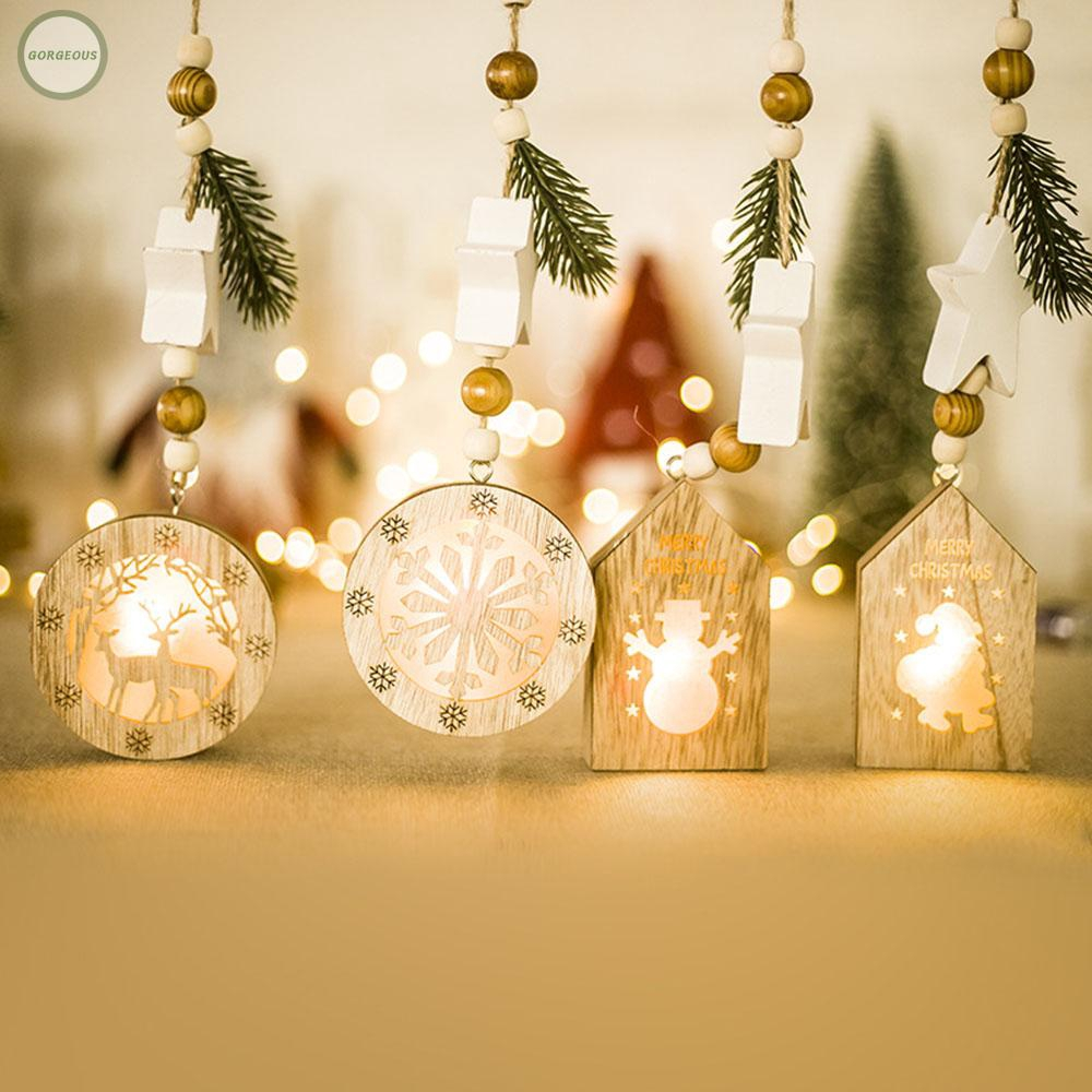 Wood Light Board Xmas Tree Pendant