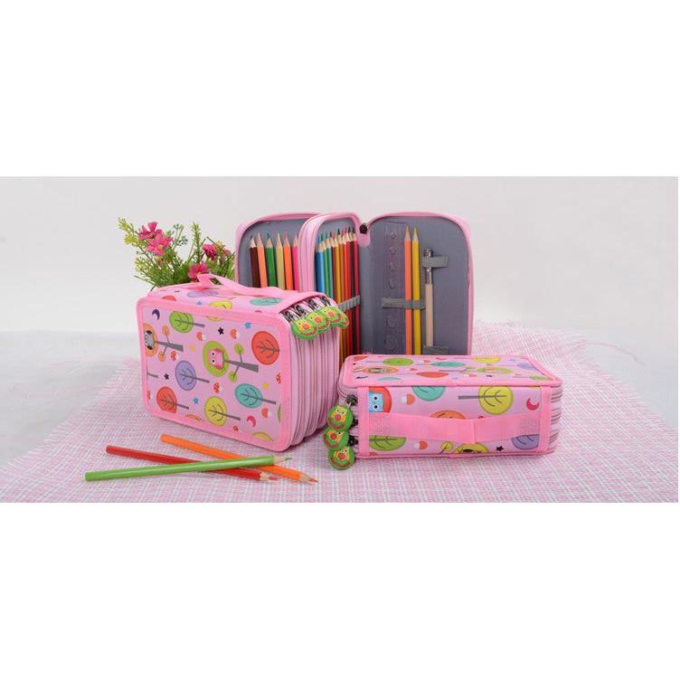 Stationery Round Square Flocking Cloth Case Pen Pouch Velvet Pencil  Bag
