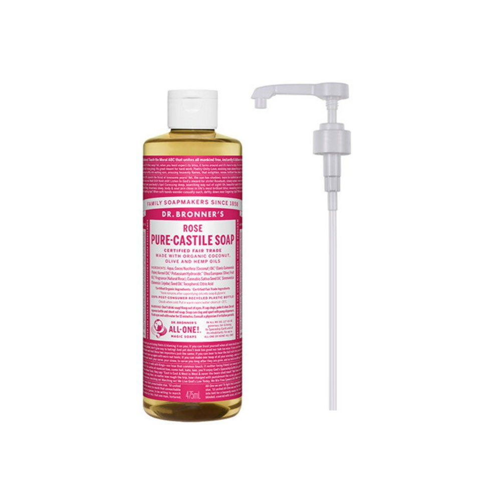 b6a9fe2fcd14 DR.bronner's ALL-ONE PURE-CASTILE LIQUID SOAP ROSE 475ml + pump