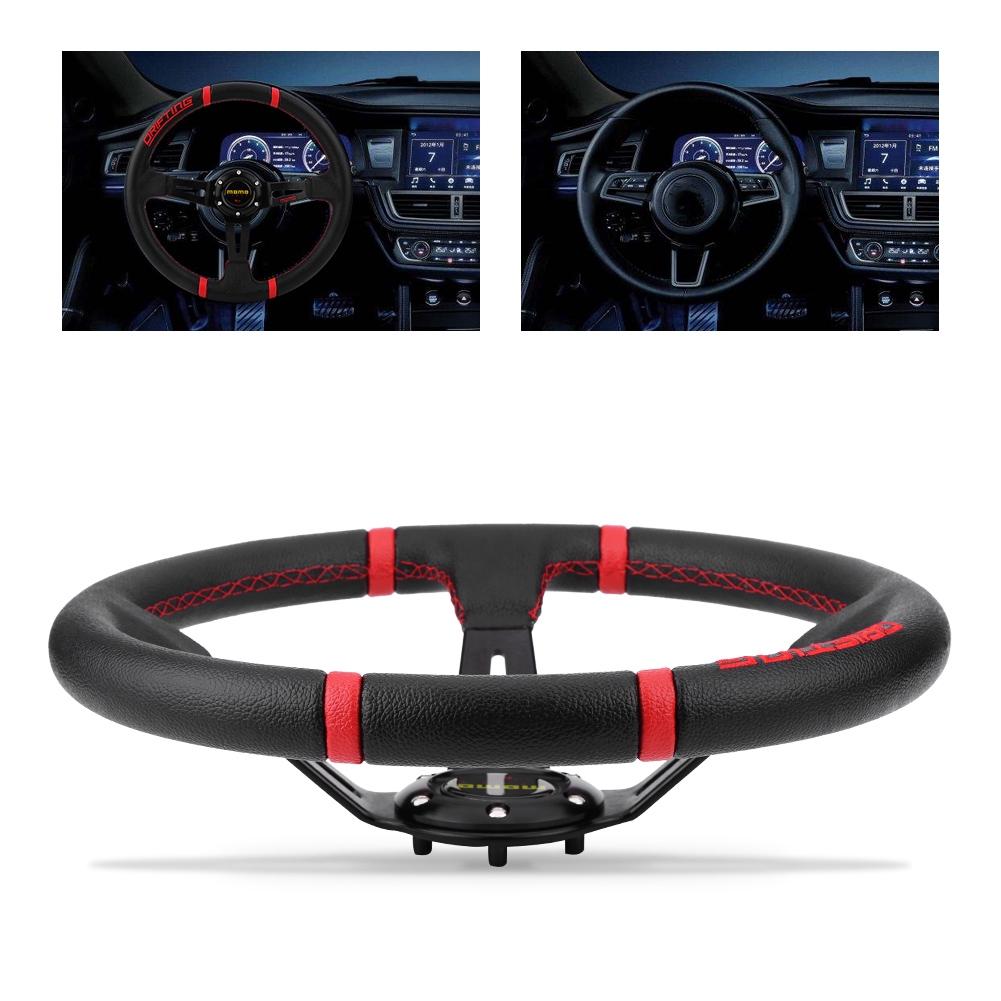 350mm Racing Steering Wheel,14in Universal Black Aluminum Frame PVC Leather 6-Bolt Car Racing Steering Wheel W//Horn
