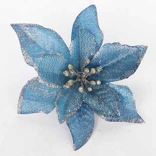 10pcs Glitter Poinsettia Flower Christmas Wreath Tree Ornaments Xmas Gifts Shopee Singapore
