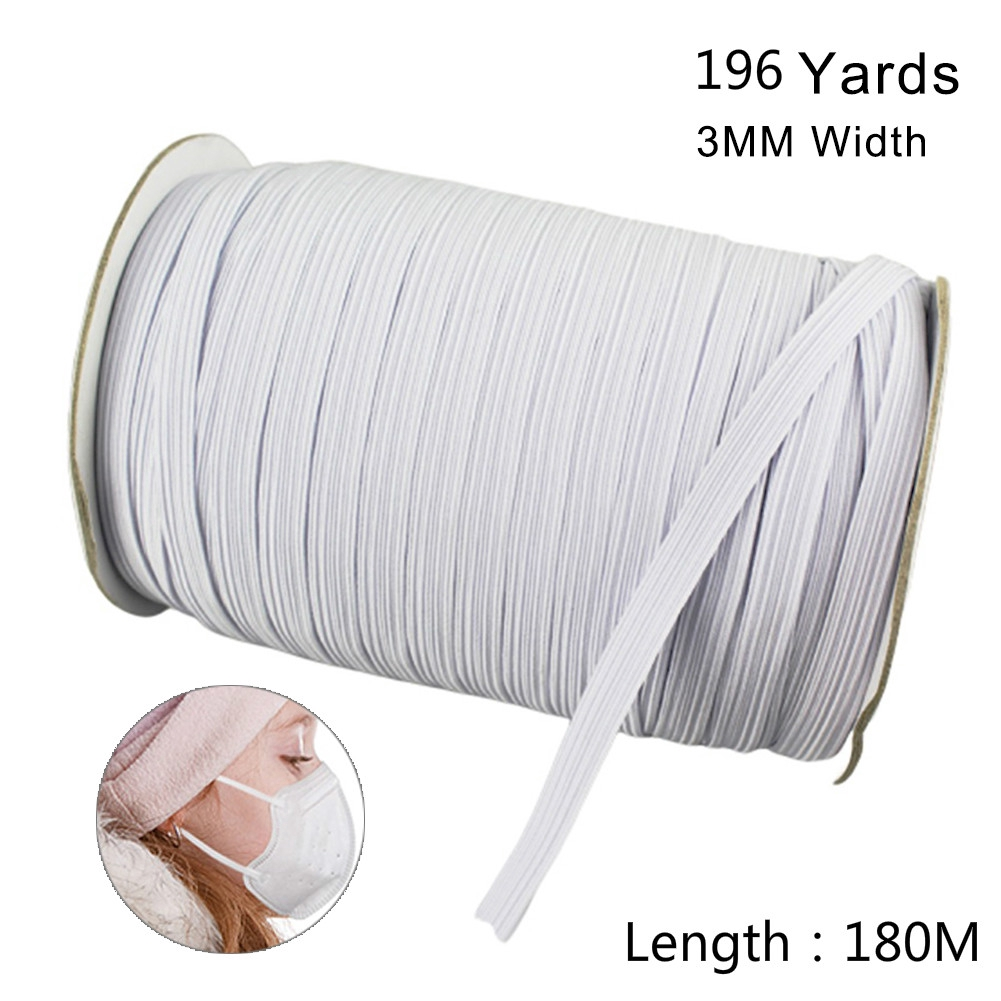 Length DIY Sewing Braided 3//5MM Elastic Band Cord Knitting Band 180M 200 Yards