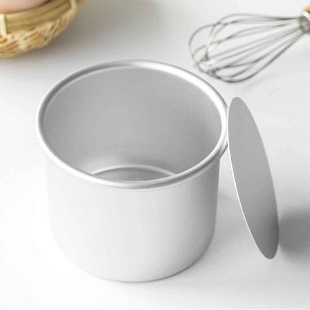 Metal Round Mini Cake Pan Removable Bottom Pudding Mold DIY Baking Tool-Set of 5