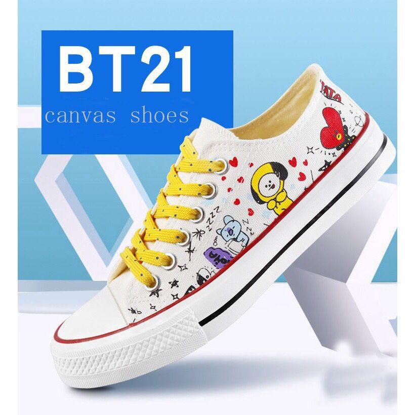 94bd5280a4f6 BTS BT21 X Co🌟nverse canvas sneakers couple