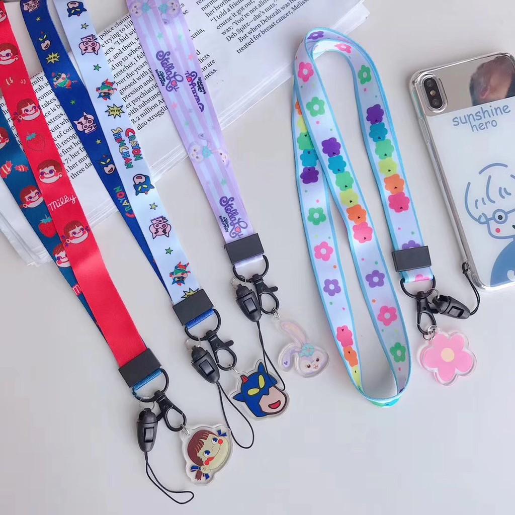 Stock❤Japan Cartoon Acrylic Charm Peko Crayon Shin-chan Phone Strap iPhone  OPPO String Accessories Hanging Key Lanyard