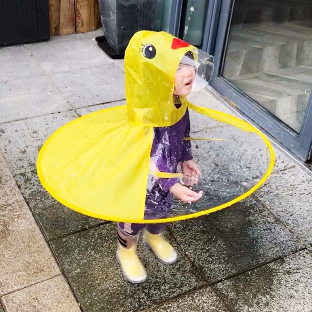 ☔Cute Cartoon Duck Children Raincoat Umbrella UFO Shape Rain Hat Cape  Foldable  252afc580298