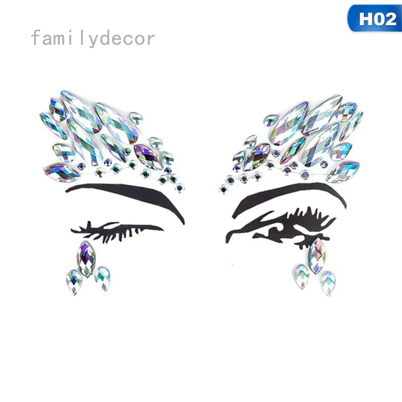 15styles Diy Eyebrow Face Body Art Adhesive Crystal Glitter Jewels Festival Party Eye Tattoo Stickers Makeup Decorations Shopee Singapore