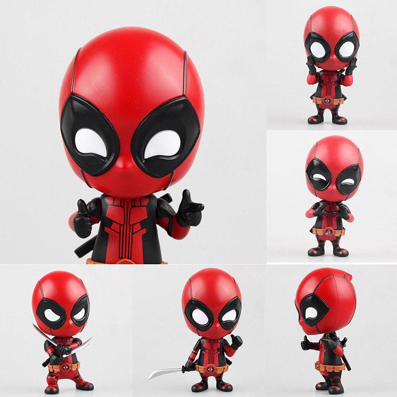 3.9/'/' Deadpool Bobble-Head Shake Head Doll PVC Action Figure Car Decor Toy Gift