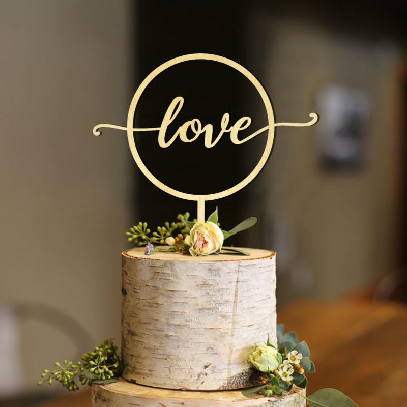 Love Cake Topper Gold Wedding Cake Topper Love Wood Cake Topper Love Sign Custom Shopee Singapore