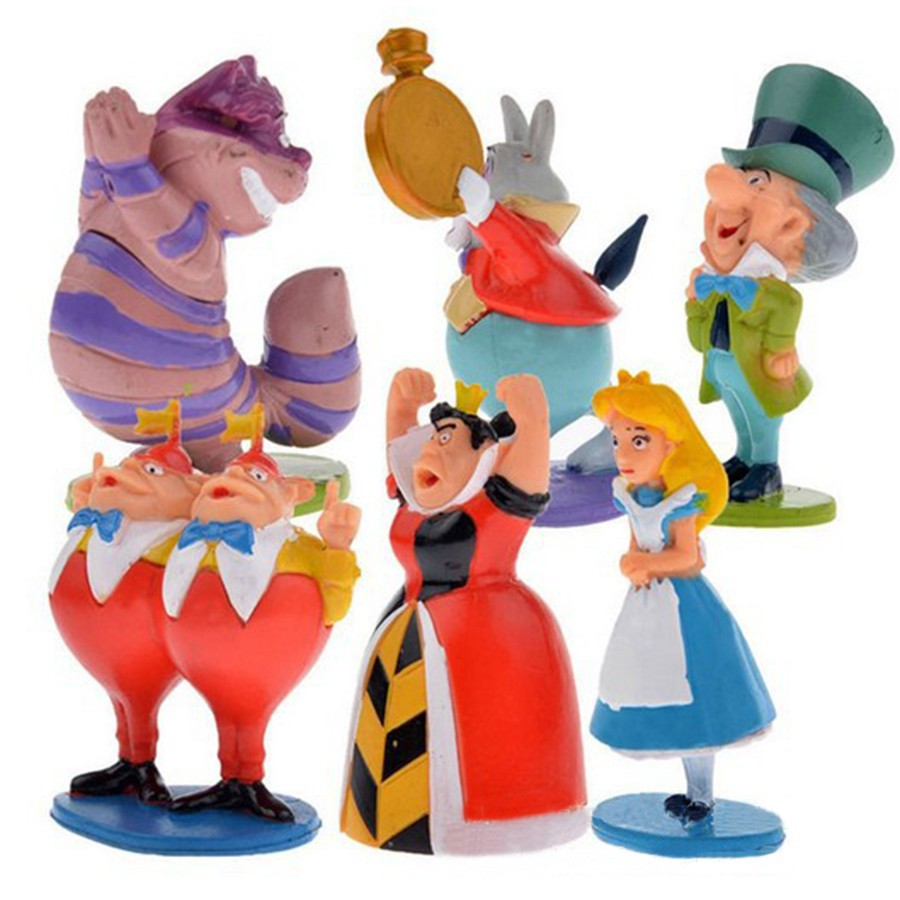 Alice In Wonderland Hatter White Rabbit 6PCS Action Figure Doll Cake Topper Toy
