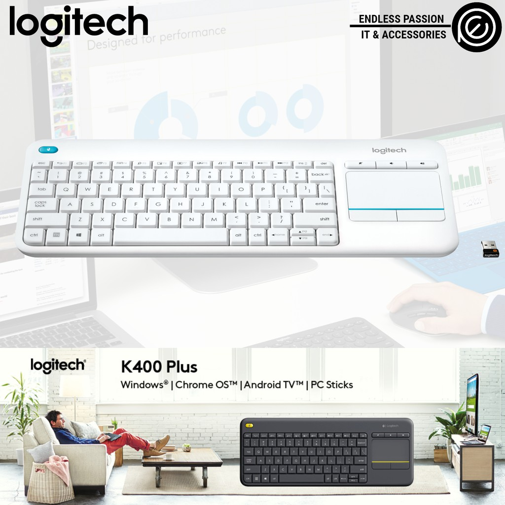 Logitech K400 Plus Wireless Touch Keyboard - Black/White