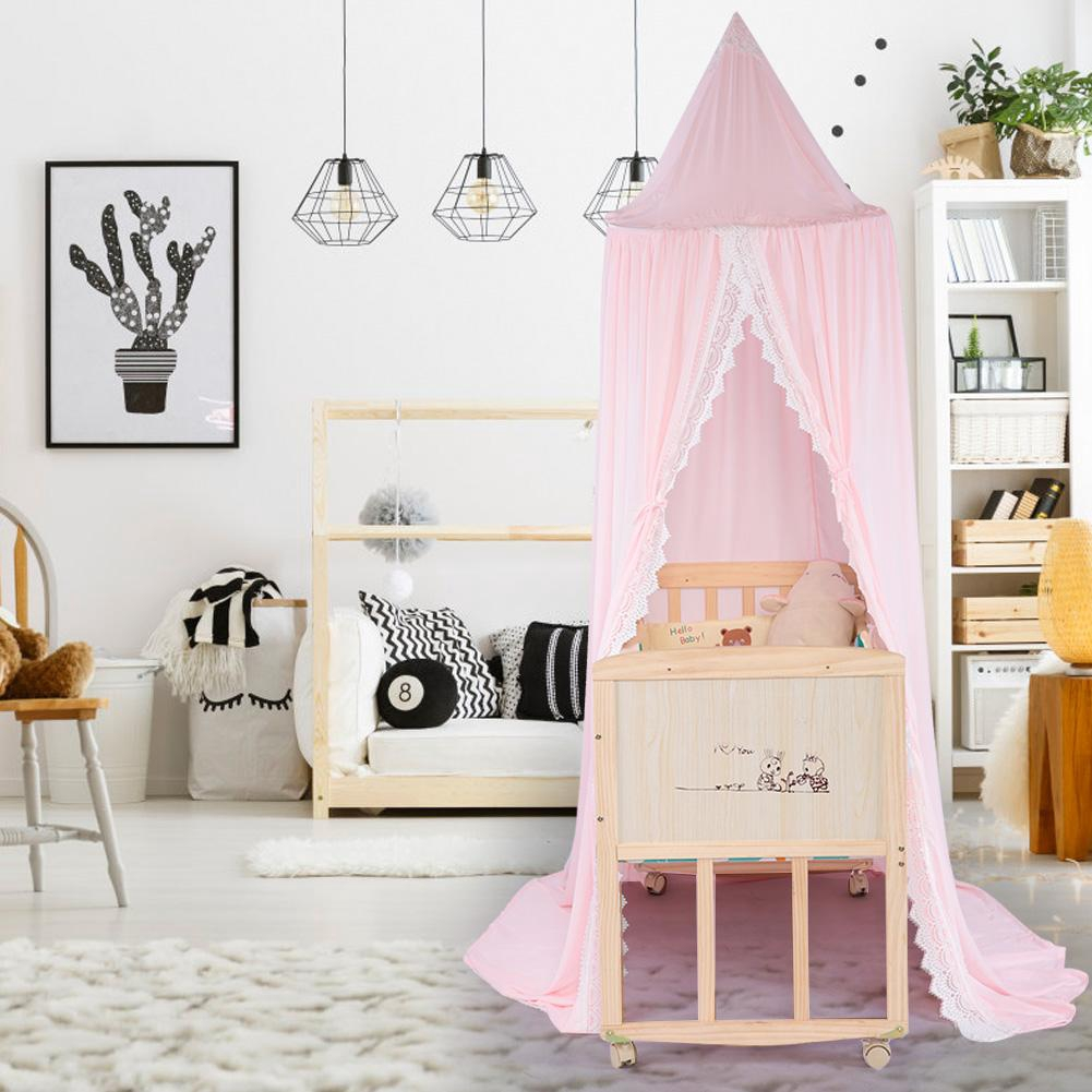 Kids Bed Canopy Lace Bedcover Mosquito Net Round Dome Girl Bedroom  Decoration