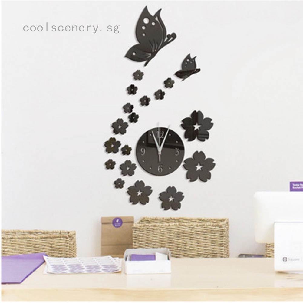 Acrylic Modern DIY Wall Clock 3D Mirror Surface Sticker Home Office Decor gifts