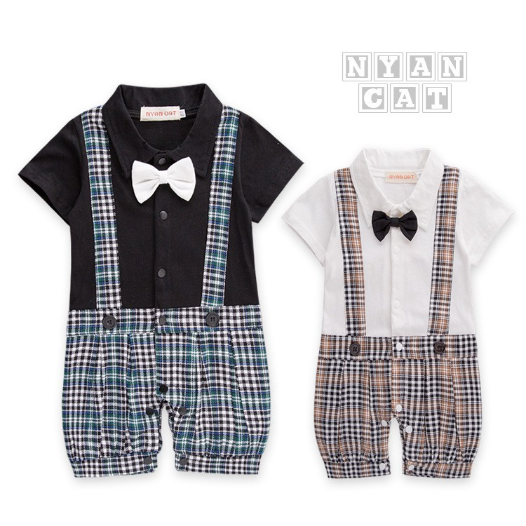 ecf4d516d52 (1PC Romper) Baby Toddler Boy Wedding Formal Check Tuxedo Romper Overalls