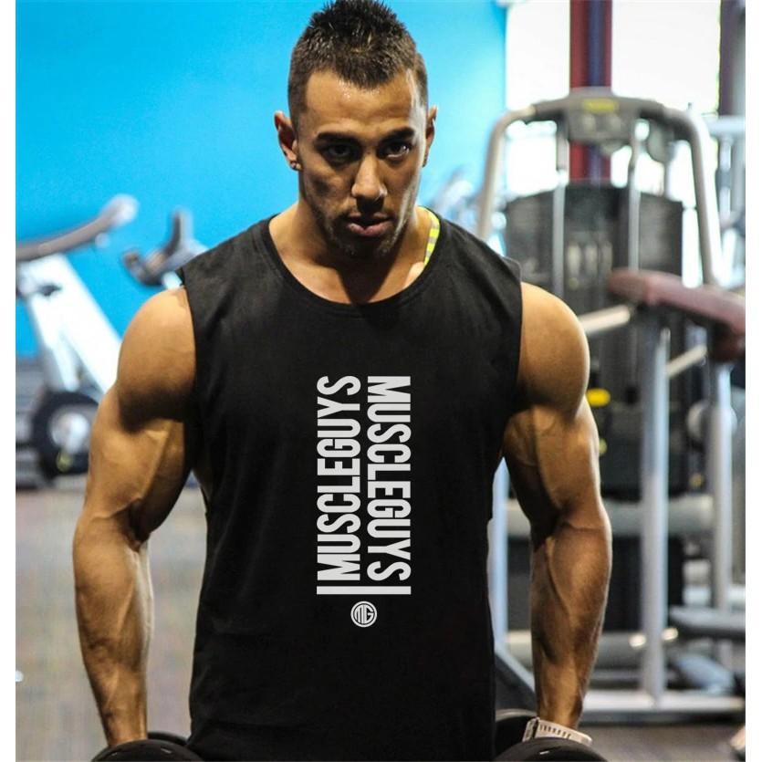 Men/'s Singlet Gym Vest Loose Elastic Cotton Bodybuilding Sport Workout Tank Top