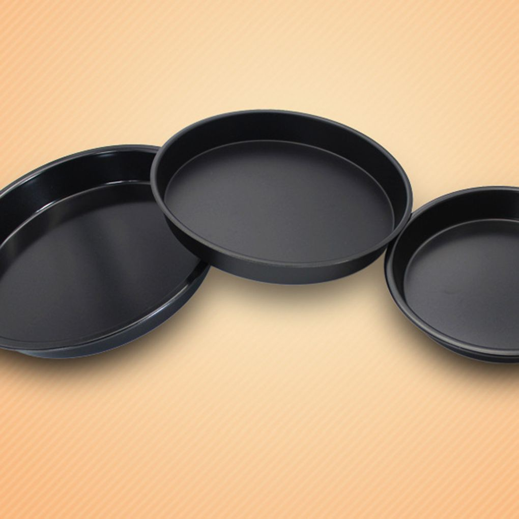 Carbon Steel Pizza Pan Oven Baking Trays Mold Microwave Cake Dish Mould Plate