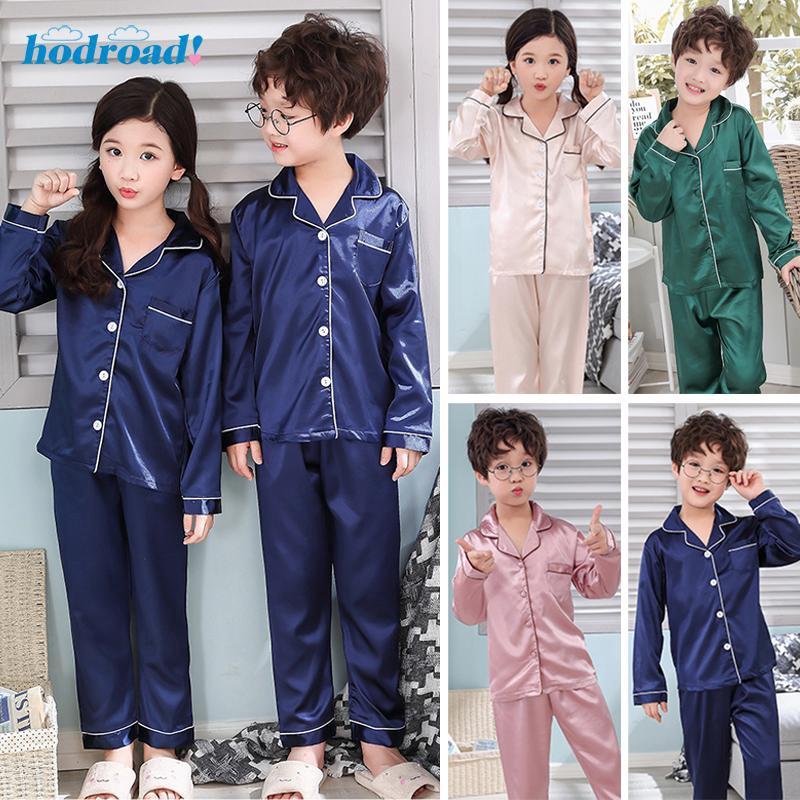 Kid Child Silk Satin Loungewear Set Boy Pajamas Sleepwear Short Sleeve Top+Short