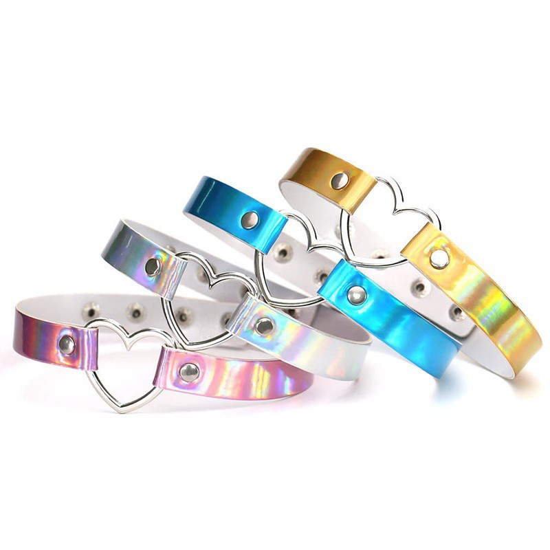 Holographic Choker Women Punk Laser Leather Love Heart Collar Necklace Jewelry