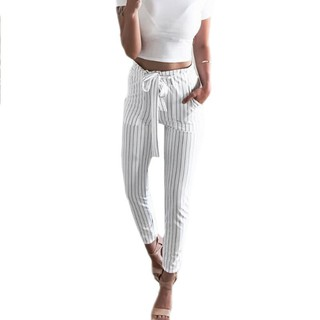 exceptional range of styles pretty cheap quality and quantity assured Women OL Chiffon High Waist Harem Pants Bow Tie Drawstring Sweet Casual  Trousers