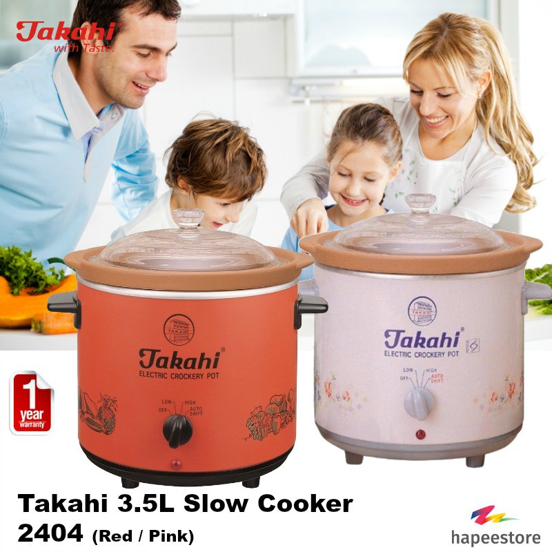 Takahi 3.5L Slow Cooker - 2404 (Available in Pink / Red) (1 Year Warranty) | Shopee Singapore
