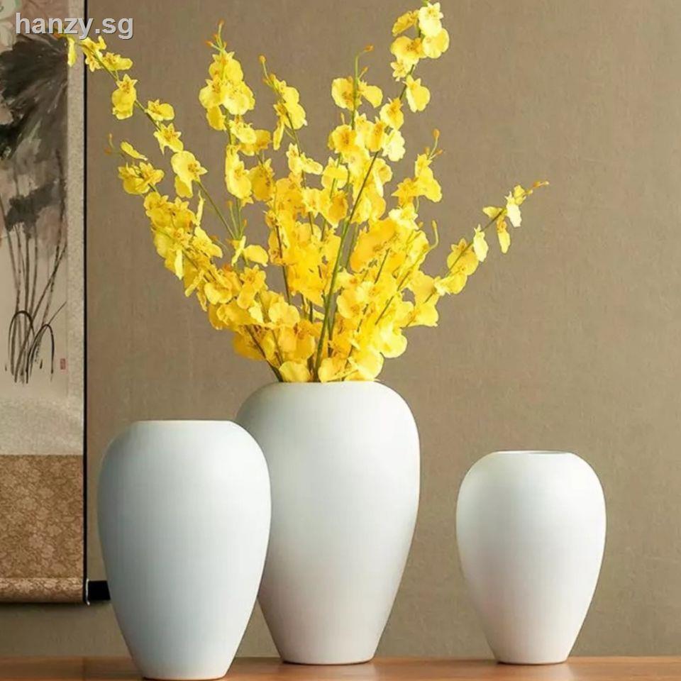Jingdezhen Chinese White Ceramic Vase Decoration Living Room Large Clay Pot Zen Dried Flower Arrangement Home Decorations Shopee Singapore
