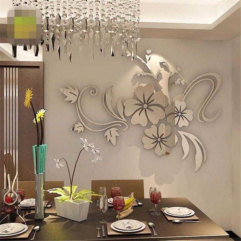 20pcs Acrylic Mirror Wall Sticker Removable DIY Decal Home Vinyl Mural Decor UK