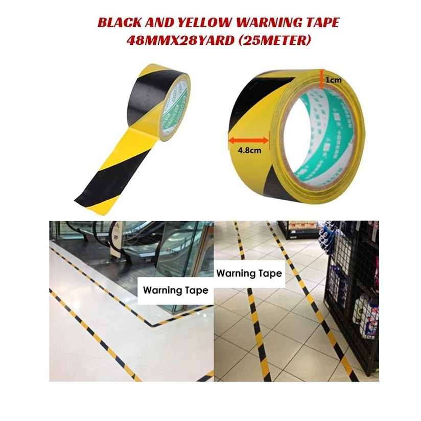 2 Pack Hazard Warning Tape 18M x 48mm Black//Yellow Warning Safety Tape Adhesive Marking Barrier Tape For Walls Floors Pipes and Equipment