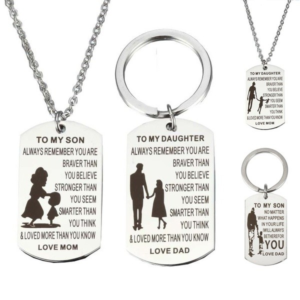 TO MY SON DAUGHTER LOVE DAD MOM Family Jewelry Charm Keychain Key Ring  Pendant N