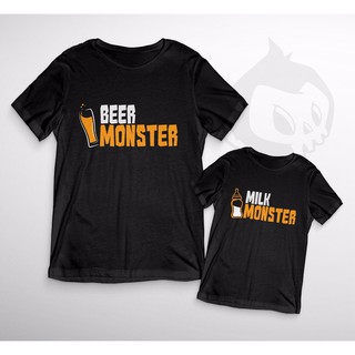 Beer & Milk Monster Duo T Shirt Son Daughter Novelty Funny