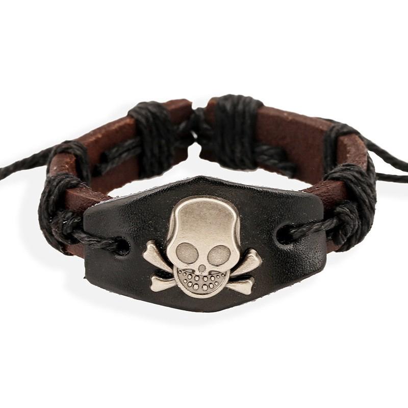 MP Vintage Handmade Alloy Genuine Leather Wide Cuff Wristband Adjustable Strap Bracelet for Men Women Unisex