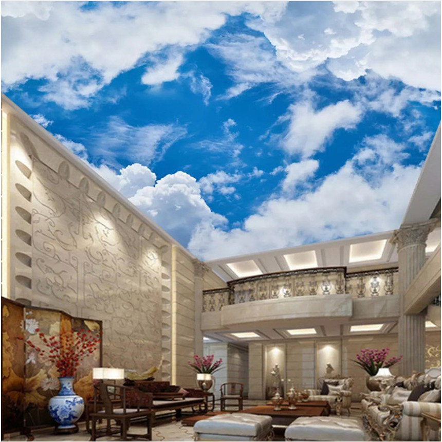 Mural Blue Sky And White Clouds Painting Living Room Ceiling Mural