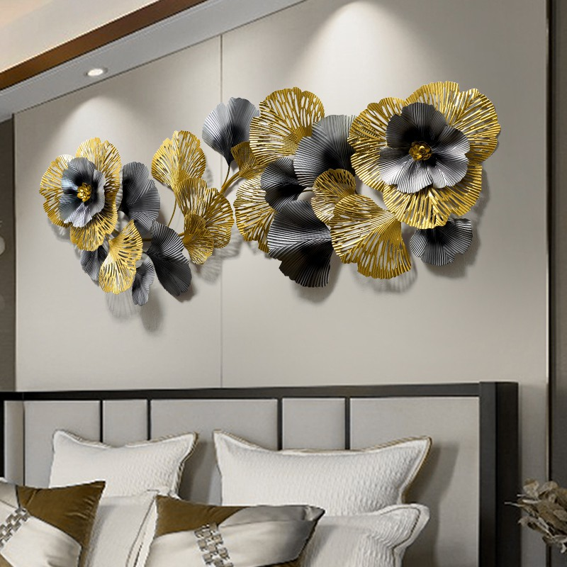 New Chinese Style Silver Blanchedalmond Leaf Decoration Bedroom Gold Wall Decor Shopee Singapore