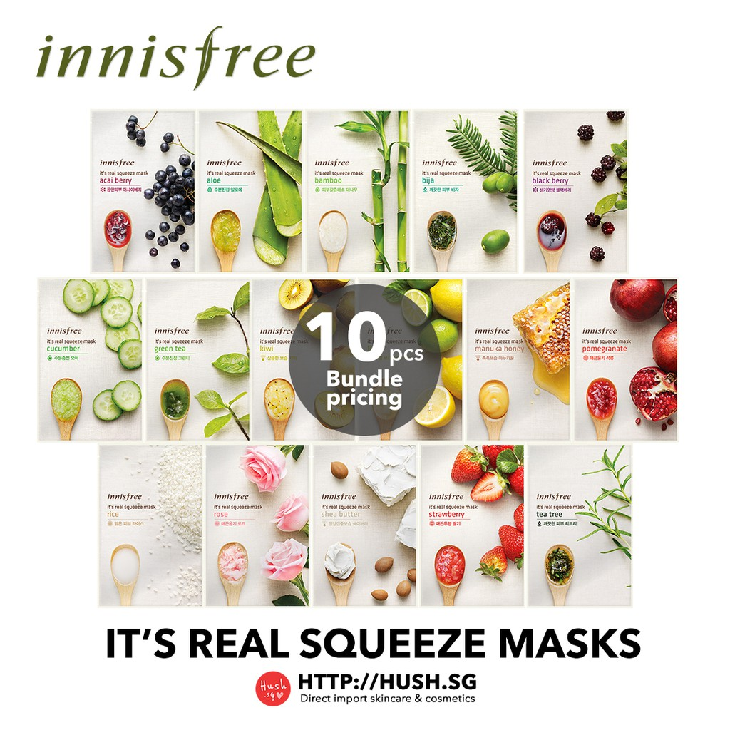 10 Pcs Innisfree Its Real Squeeze Mask Shopee Singapore Lime