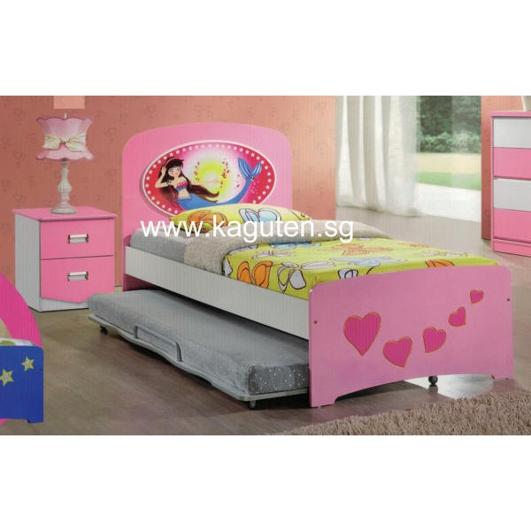 Kaguten Little Mermaid Bed Single Size Children Bedframe With Pull Out Shopee Singapore