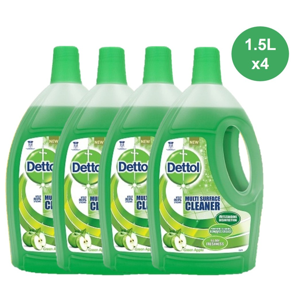 4x 1 5L Dettol 4-in-1 Disinfectant Multi Surface Cleaner Green Apple