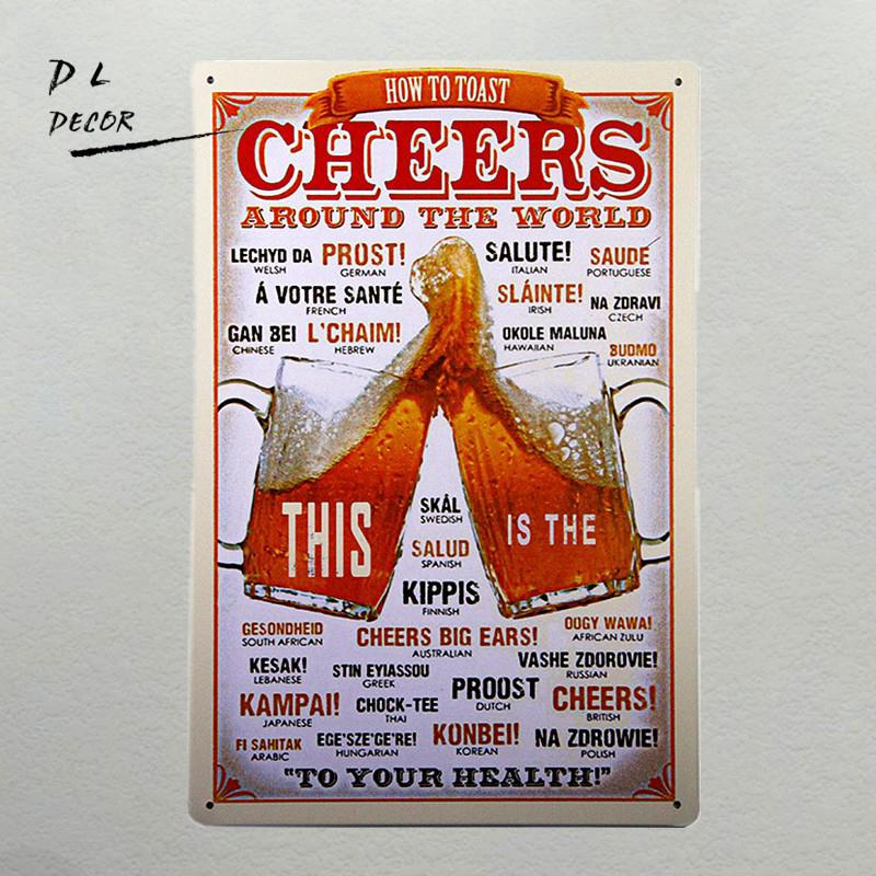 Cheers Art wall decor Cafe Bar metal posters and prints wall
