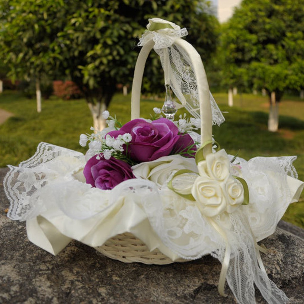 Romantic Satin Bowknot Pearl Flower Girl Basket Wedding Ceremony Party Ivory