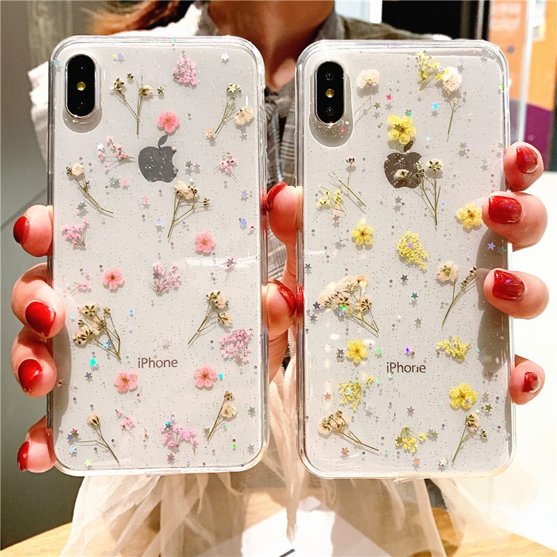 iPhone X 6 6S 7 8 plus XS MAX Casing Real Dried Flowers Transparent Soft  Cover