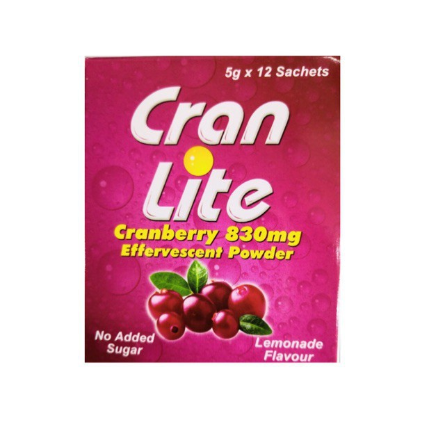 Cran LIte Cranberry 830mg Effervescent Powder 5g 30s Urine Cleanser For Urinary Track Infections