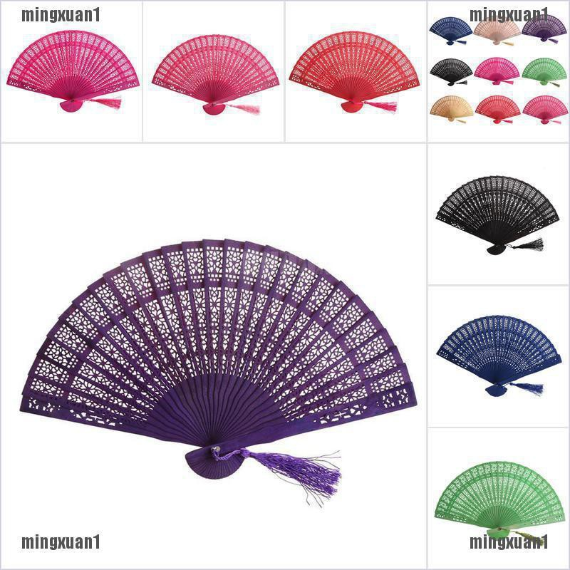Wedding Hand Fragrant Party Carved Bamboo Folding Fan Chinese Wooden Fan Sg