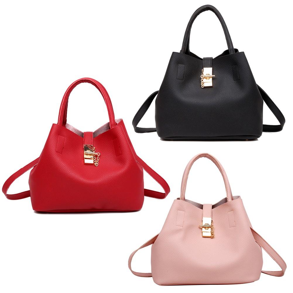 4pcs Set Lichi Leather Tassels Women Tote Shoulder Handbag Clutch Card Bags    Shopee Singapore 519dec7789