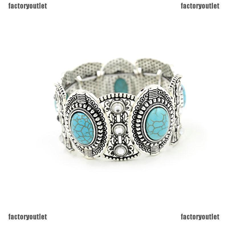 Chic Boho Womens Retro Vintage Natural Turquoise Tibetan Silver Bracelet Cuff、UK