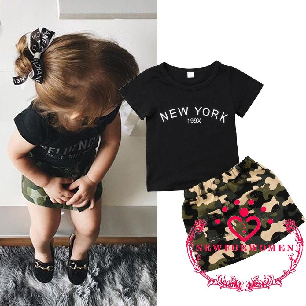 UK Quality Kids Baby Girl Casual T-shirt Tops Camo Skirt Dress Outfits Sunsuit