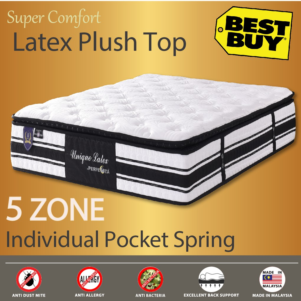 Premium Unique Latex 12-inch 5 Zone Individually Pocketed Spring Mattress |  Shopee Singapore