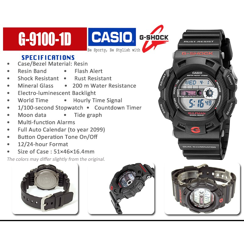 Casio G-Shock G-9100-1D Gulfman Tide and Moon Black Resin Strap Men's Watch | Shopee Singapore