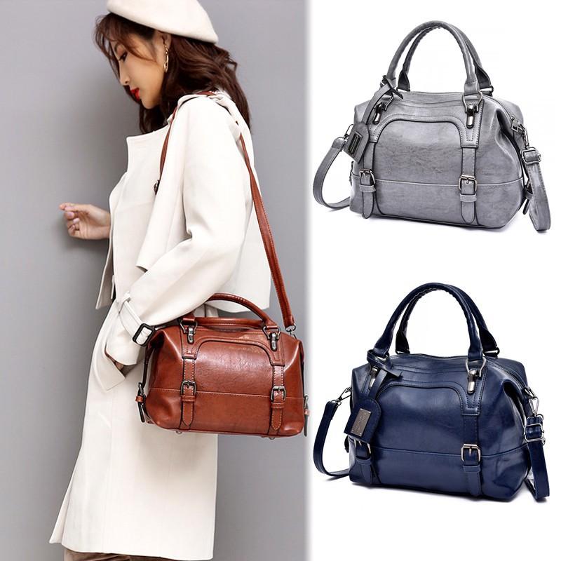 Waxed Leather Women Fashion Tote Bag