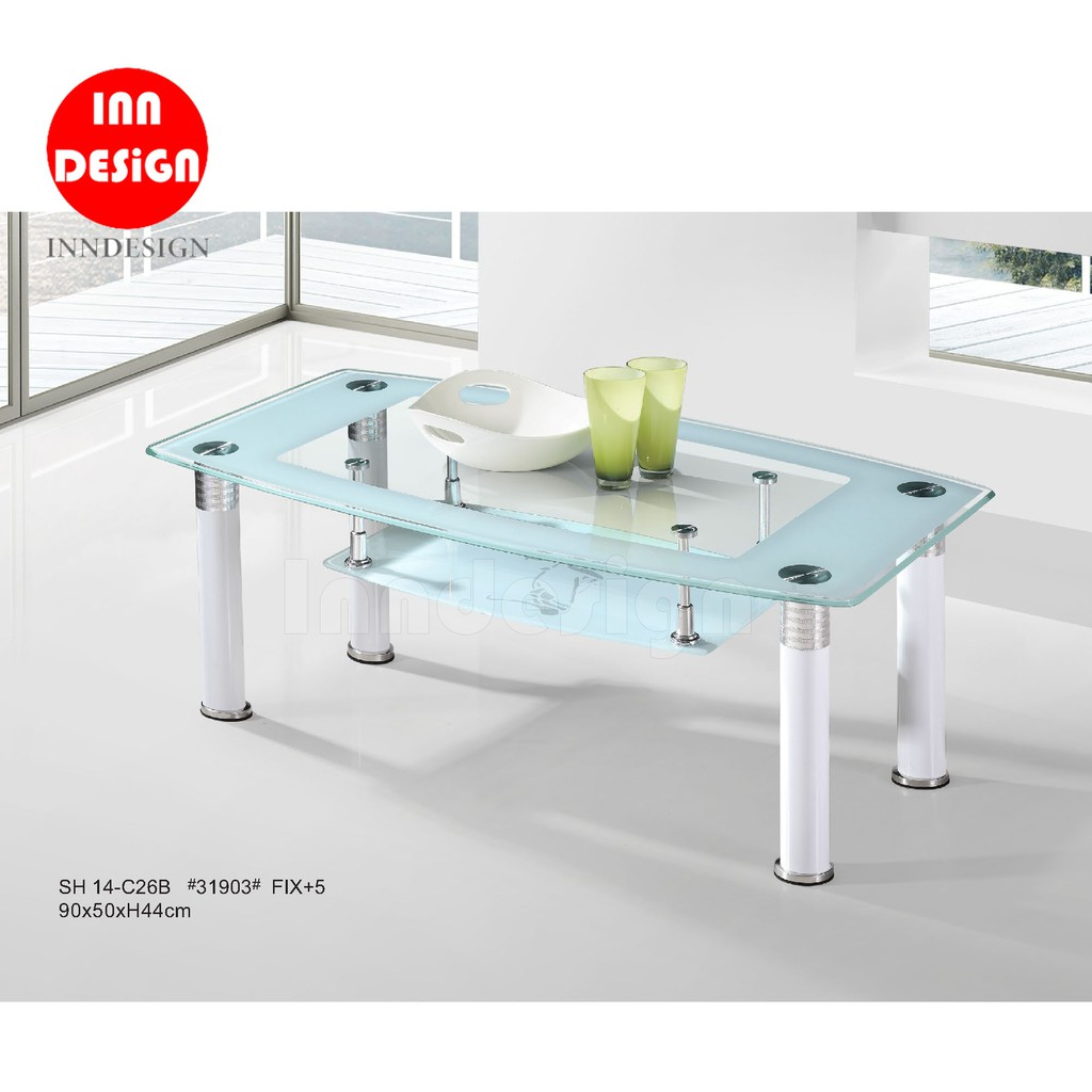 Caryl Tempered Glass Coffee Table Shopee Singapore